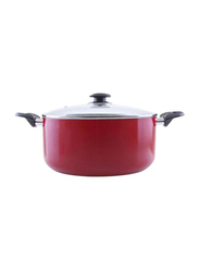 RoyalFord 24cm Non Stick Aluminium Casserole with Glass Lid, RF6440, Red
