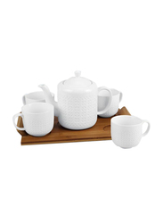 RoyalFord 6-Pieces Porcelain Tea Set with Wooden Stand, RF9240, White