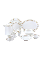 RoyalFord 47-Pieces Opal Ware Ovation Finebone Round Dinnerware Set, RF8397, White