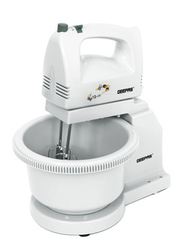 Geepas Hand Mixer Stand and Rotating Bowl Blender, 250W, GHB2002, White