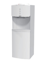 Geepas Top Load Water Dispenser, 5L Hot Water, 2L Cold Water, with Refrigerator Cabinet, Cup Holder, GWD17016, White