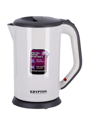 Krypton 1.7L Double Layer Stainless Steel Electric Kettle, 1800W, KNK6105, Black/White