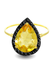 Vera Perla 18K Gold Cocktail Ring for Women, with 0.12 ct Genuine Diamonds and Citrine Stone, Yellow/Gold, US 6.5
