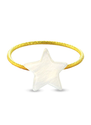 Vera Perla 18k Gold Fashion Rings for Women, with Star Shape Mother of Pearl Stone, White/Gold, US 6