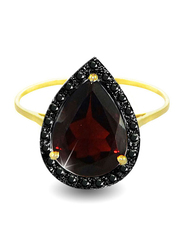 Vera Perla 18K Gold Cocktail Ring for Women, with 0.12 ct Genuine Diamonds and Garnet Stone, Burgundy/Gold, US 6.5