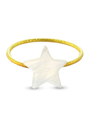Vera Perla 10k Gold Star Shape Fashion Ring, with Mother of Pearl Stone, White/Gold, US 6