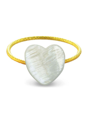 Vera Perla 18k Gold Fashion Rings for Women, with Heart Shape Mother of Pearl Stone, White/Gold, US 6