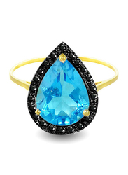 Vera Perla 18K Gold Cocktail Ring for Women, with 0.12 ct Genuine Diamonds and Topaz Stone, Blue/Black/Gold, US 6.5