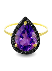 Vera Perla 18K Gold Cocktail Ring for Women, with 0.12 ct Genuine Diamonds and Amethyst Stone, Purple/Gold, US 6.5