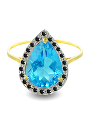 Vera Perla 18K Gold Cocktail Ring for Women, with 0.12 ct Genuine Diamonds and Topaz Stone, Blue/Gold, US 6.5