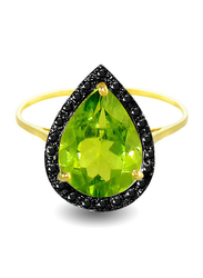 Vera Perla 18K Gold Cocktail Ring for Women, with 0.12 ct Genuine Diamonds and Peridot Stone, Green/Gold, US 6.5