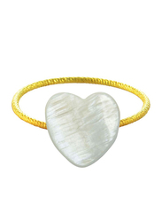 Vera Perla 10k Gold Heart Shape Fashion Ring, with Mother of Pearl Stone, White/Gold, US 6