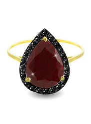 Vera Perla 18K Gold Cocktail Ring for Women, with 0.12 ct Genuine Diamonds and Ruby Stone, Burgundy/Gold, US 6.5