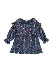 Louise Misha Pine Cone Printed Dress, Cotton, 12 Months, Militcha Blue