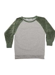 Mingo Kids Velvet Sweater, 8-10 Years, Grey/Duck Green