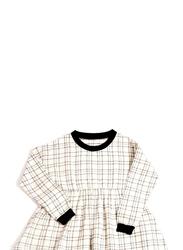 Monkind Flannel Dress, Cotton, Woman L, Off White/Black