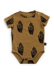 Monkind Hey Body Onesie, Cotton, 6-12 Months, Brown/Black
