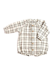 Monkind Flannel Puff Romper, Cotton, 0-3 Months, Off White/Black