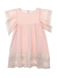 Louise Misha Bahamas Blush Ruffled Sleeves Dress, Cotton, 9-Months, Almond