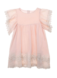 Louise Misha Bahamas Blush Ruffled Sleeves Dress, Cotton, 4-Years, Almond