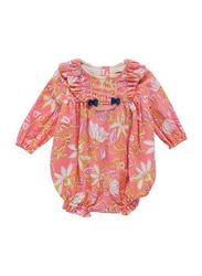 Louise Misha Bleda Floral Print Romper, Cotton, 2 Years, Coral