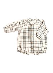 Monkind Flannel Puff Romper, Cotton, 6-12 Months, Off White/Black