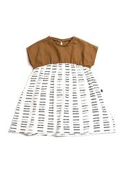 Monkind Sienna Dress, Cotton, 1-2 Years, Brown/White