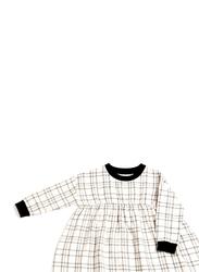 Monkind Flannel Dress, Cotton, 7-8 Years, Off White/Black