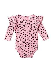 Noe & Zoe Baby Ruffle Waffle Bodysuit, 12-18 Months, Pink Mesh
