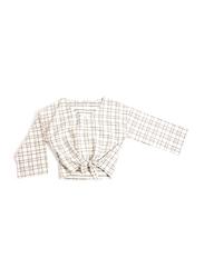 Monkind Flannel Tied Blouse, Cotton, Woman L, Off White/Black