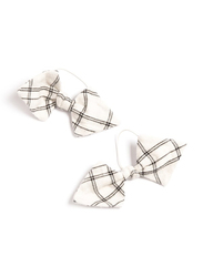 Monkind Flannel Hair Bow, 2 Pieces, White