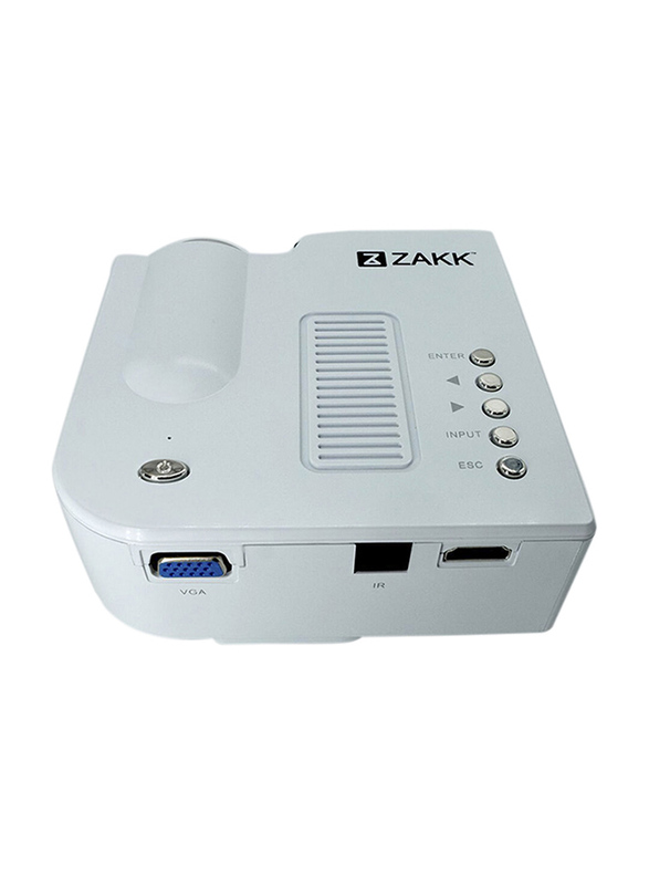 Zakk UC28 Pro HD LED Mini Portable Home Cinema Theatre Projector, 48 Lumens, White
