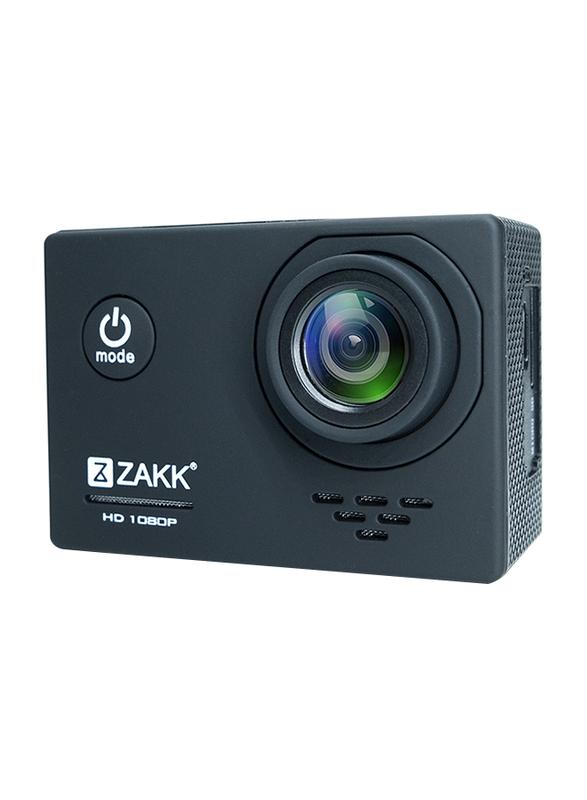 Zakk Rush 1080p Action Camera with Accessories, 12 MP, Black