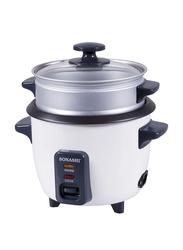 Sonashi 1.8L Aluminium Rice Cooker, with Steamer, 700W, SRC 318, White