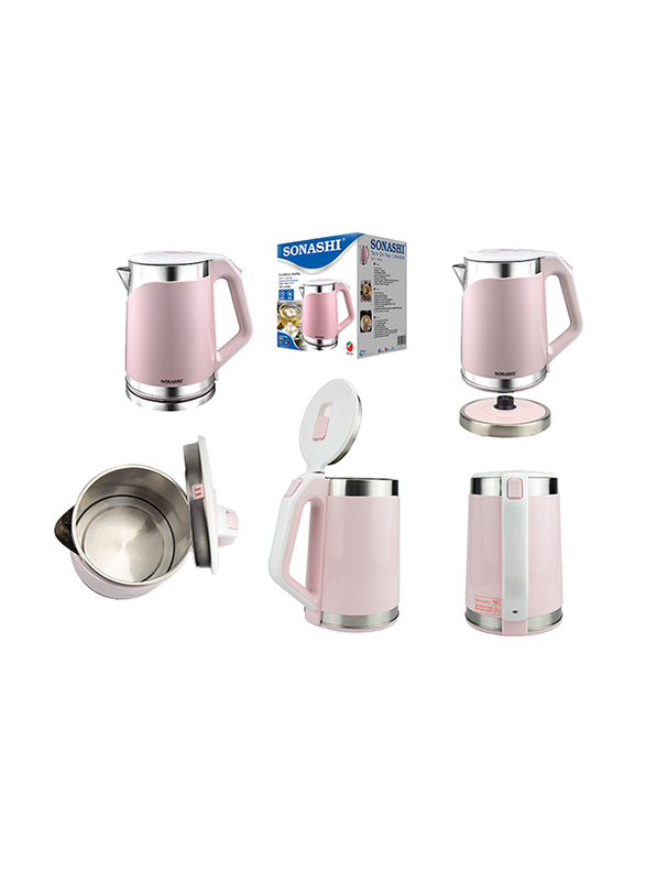 Sonashi 1.8L Electric Stainless Steel Cordless Kettle, 1850W, SKT 1808, Pink