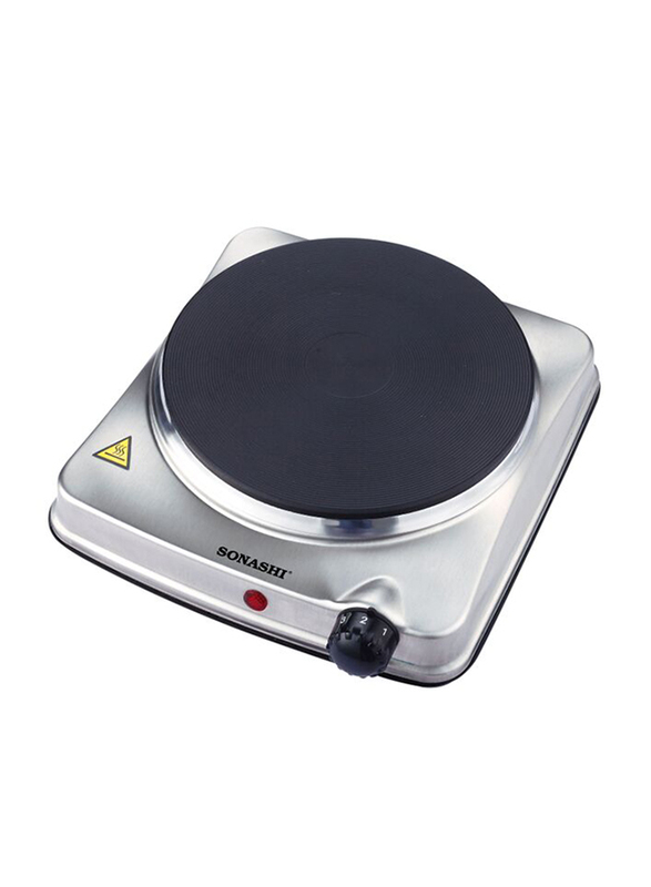 Sonashi Single Electric Stainless Steel Hot Plate, 1500W, SHP 610S, Silver/Black