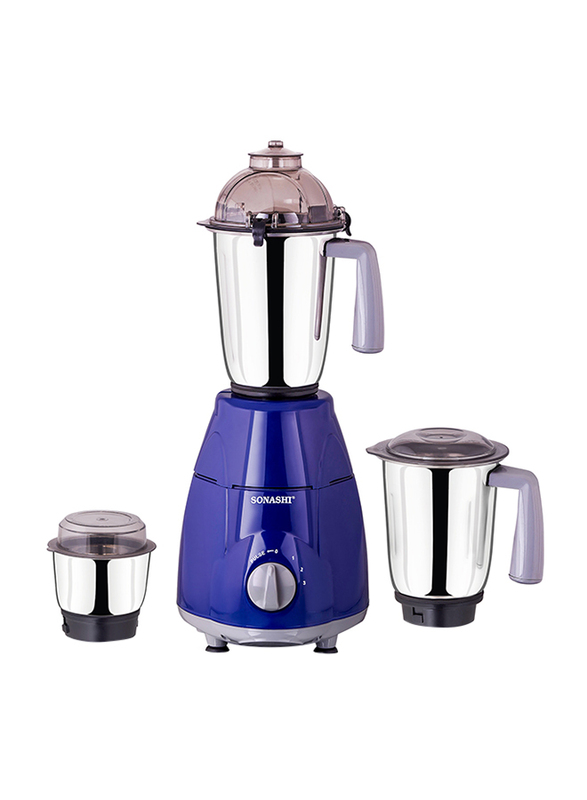 Sonashi 3 in 1 1.5L Mixer Grinder, with Pulse Switch Unbreakable Polycarbonate Jar Lids, 750W, SB 151 SS, Dark Blue