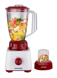 Sonashi 2 in 1 1.5L Electric Blender, 350W, SB 162, White/Red