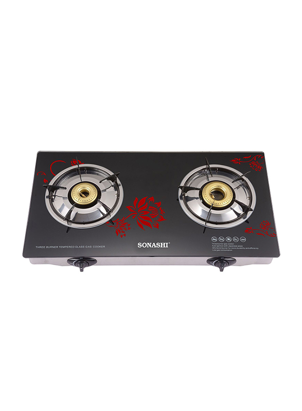 Sonashi Two Gas Cooktops Burner, with Automatic Ignition, with Floral Print Glass, SGB 206 GFFD, Black