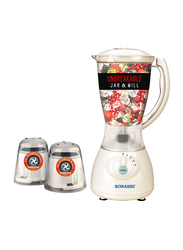 Sonashi 3 in 1 1.5L Electric Blender, with Unbreakable Jar and Mills, 550W, SB 133, White