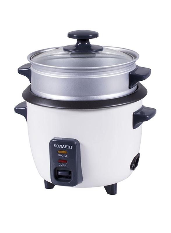 Sonashi 1.0L Aluminium Rice Cooker, with Steamer, 400W, SRC 310, White