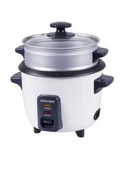 Sonashi 2.8L Aluminium Rice Cooker, with Steamer, 1000W, SRC 328, White