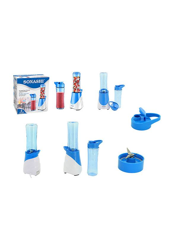 Sonashi Portable Sports Blender/Smoothie Maker, 300W, SB 164, White/Blue