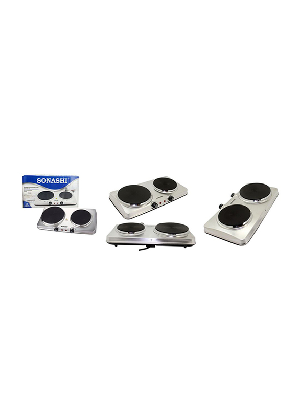 Sonashi Double Electric Stainless Steel Hot Plates, 2500W, SHP 611S, Silver/Black