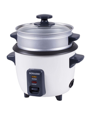 Sonashi 0.6L Aluminium Rice Cooker, with Steamer, 350W, SRC 306, White