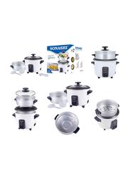 Sonashi 0.6L Aluminium Rice Cooker, with Steamer, 350W, SRC 306, White