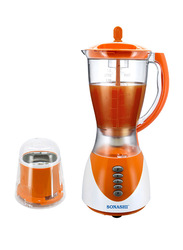 Sonashi 2 in 1 1.5L Electric Blender, with Unbreakable Jar and Mill 300/350W, SB 153, Orange/White