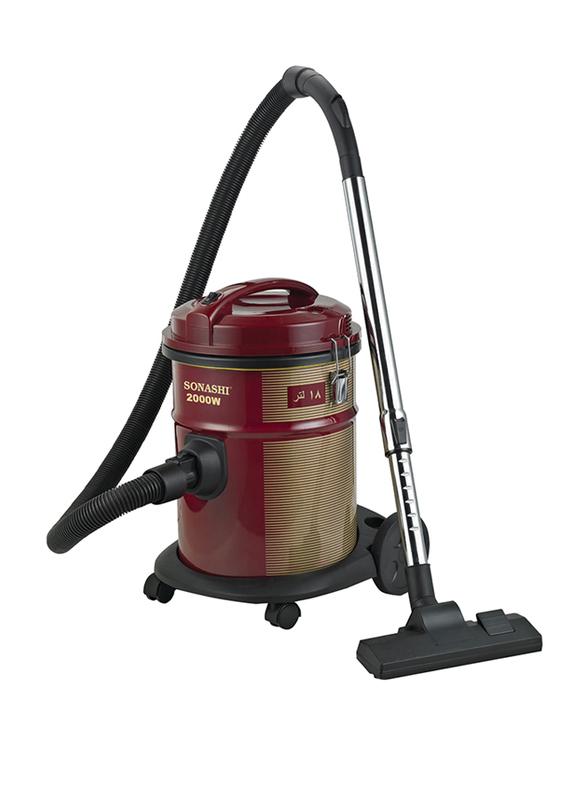 Sonashi Drum Vacuum Cleaner, 2000W, 18L, SVC 9007D, Red