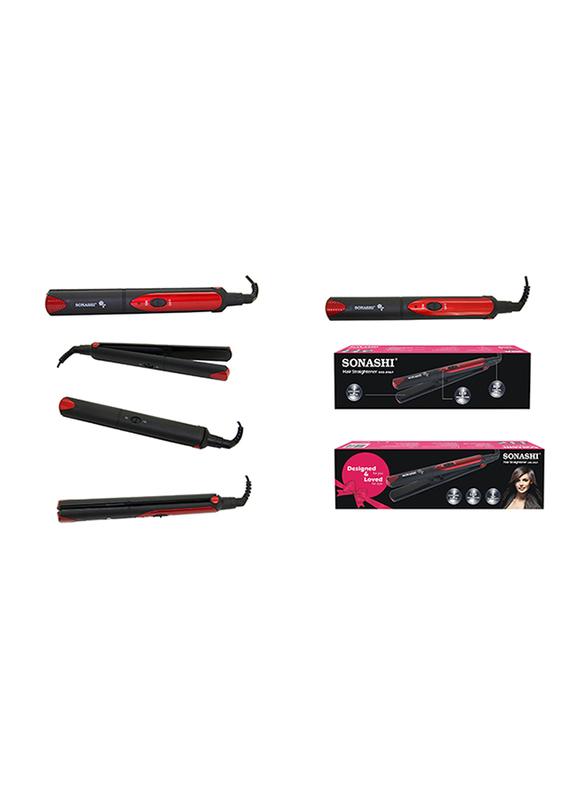 Sonashi Hair Straightener, 30W, with Ceramic Plate, SHS 2067, Black/Red