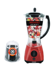 Sonashi 2 in 1 1.5L Electric Blender, with Unbreakable Jar and Mill, 550W, SB 154, Red